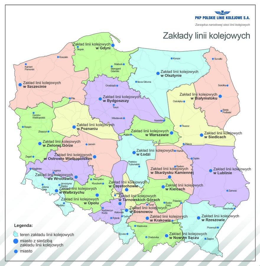 Zaklady Linii Kolejowych Mapa Pkp Polskie Linie Kolejowe S A